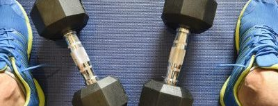 working out with dumbbells